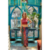 TEMPLE SKIRT Rayon Patchwork Indian Print Side Zip Maxi Skirt
