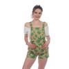 MYCRO OVERALLS Cotton Fitted Shorts Overalls Print Mushroom & Pot Leaf