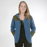 Fleece Jacket With Printed Cotton Detail