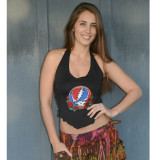 SERENITY TOP Lycra Grateful Dead Cover Up With Steal Your Face Embroidery