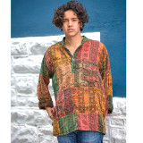 LOGAN SHIRT Cotton Stonewash Patchwork Prayer Print Men's Kurtha