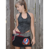 ANNABELLE SKIRT Cotton Faux Wrap Grateful Dead Mini Skirt With SYF Embroidery