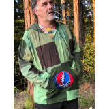 TEN JED HOODY Cotton Stonewash Patchwork Men's Hoody With Embroidered Steal Your Face