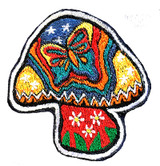 Embroidered Patch Mushroom With Butterfly (3 inches)