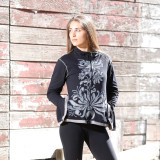Trudy Cotton Zip Up Jacket With Flower Print, Cut Out & Embroidery