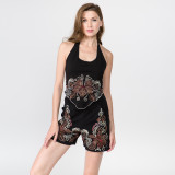 EDEN MAY SHORTS Cotton Lycra Shorts with Pockets and  Flower Cut Out And Embroidery Detail