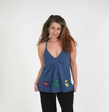 MAMA TRIED TOP Cotton Spaghetti Strap Flowy Grateful Dead Top With 5 Embroidered Bears