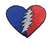 Grateful Dead Medium Heart Patch with Bolt (6 inches)