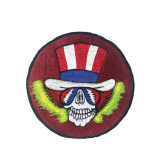 Grateful Dead Large Embroidered Patch Skull with American Flag Hat (8 inches)