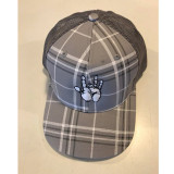 Embroidered Jerry Hand Snapback Baseball Cap- Grey Plaid with Grey Mesh