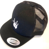 Embroidered Jerry Hand Snapback Hat- Black with Black Mesh