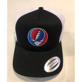 Embroidered Steal Your Face Adjustable Velcro Hat- Navy with White Mesh