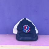 Embroidered Steal Your Face Snapback- Navy & Cream Mesh