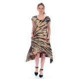 GWEN DRESS Rayon Spandex Cap Sleeve Hi-Lo Short Dress Tan Navy  Tie Dye