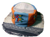 Up-cycled Patchwork Hat w/ Frayed Edge & Multi Bear Embroidery