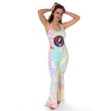 MIRACLE COVER UP Cotton Lycra Pastel Tie Dye w/ Print Grateful Dead Chest Cover Up