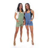 WEDNESDAY OVERALL'S Cotton Enzyme Washed Fitted Overall Shorts w/Pockets