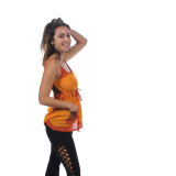 MAYA TOP Cotton Striped Adjustable Spaghetti Strap Top w/ Cinch & Pocket