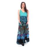 LOTTIE DRESS Cotton & Rayon Patchwork Adjustable Strap Maxi Dress