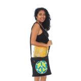 Cotton Square Shoulder Bag Love & Peace Embroidery