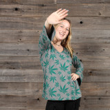 MARY JANE TOP Cotton Long Sleeve V Neck Top w/ Pot Leaf Print
