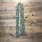 POT LEAF SCARF Cotton Long Fringe Scarf w/ Pot Leaf Print