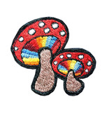 Double Mushroom Embroidered Patch (6 inches)