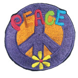 Double Peace Embroidered Patch (6 inches)