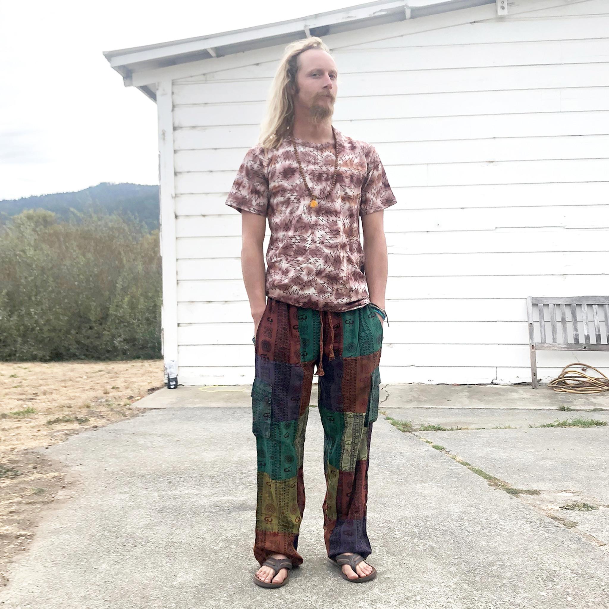 AMAN PANTS Cotton Stonewash Ohm Print Patchwork Men's Cargo Pants