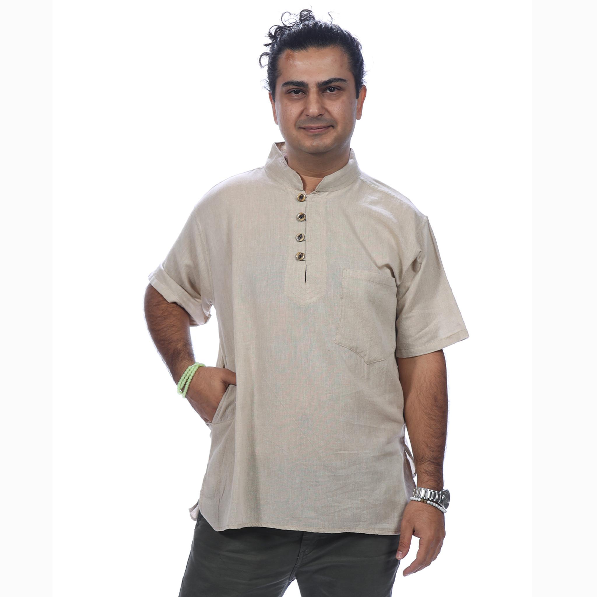 PARAM SHIRT  Cotton Khadar Men's No Collar Shirt