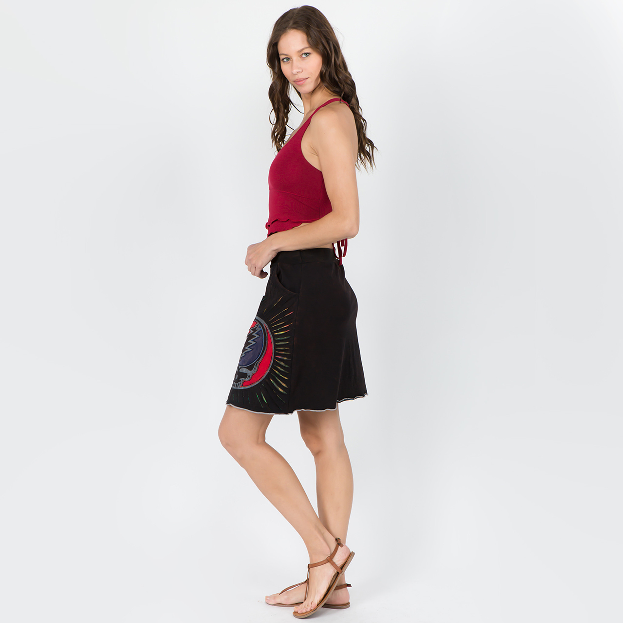 CHINA CAT SKIRT Cotton Razor Cut Grateful Dead Mini Skirt With Attached Pocket And SYF Applique-Black
