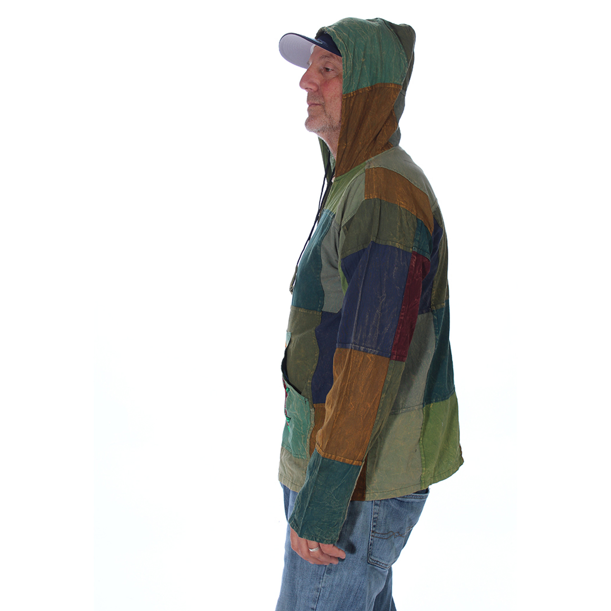 BLOW AWAY SYF HOODY Cotton Patchwork Grateful Dead Hoody w/ Rose SYF Embroidery