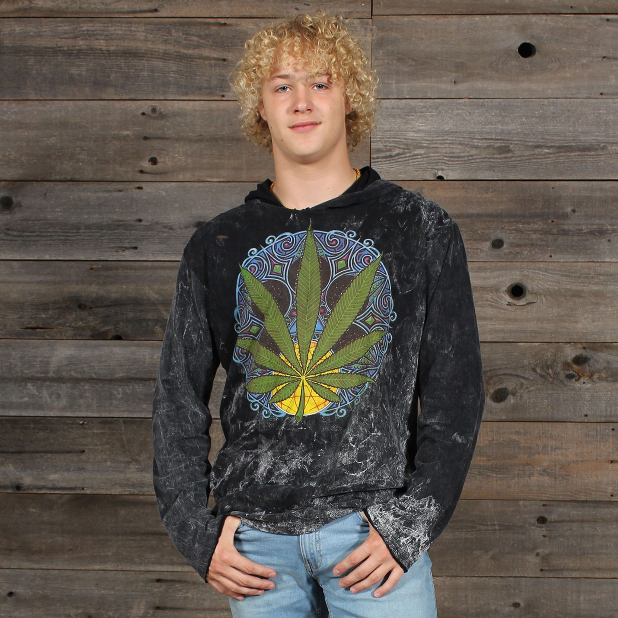 MEN'S NO TIME HOODY Cotton Hooded Men's Sweat Shirt With Pot Leaf Print