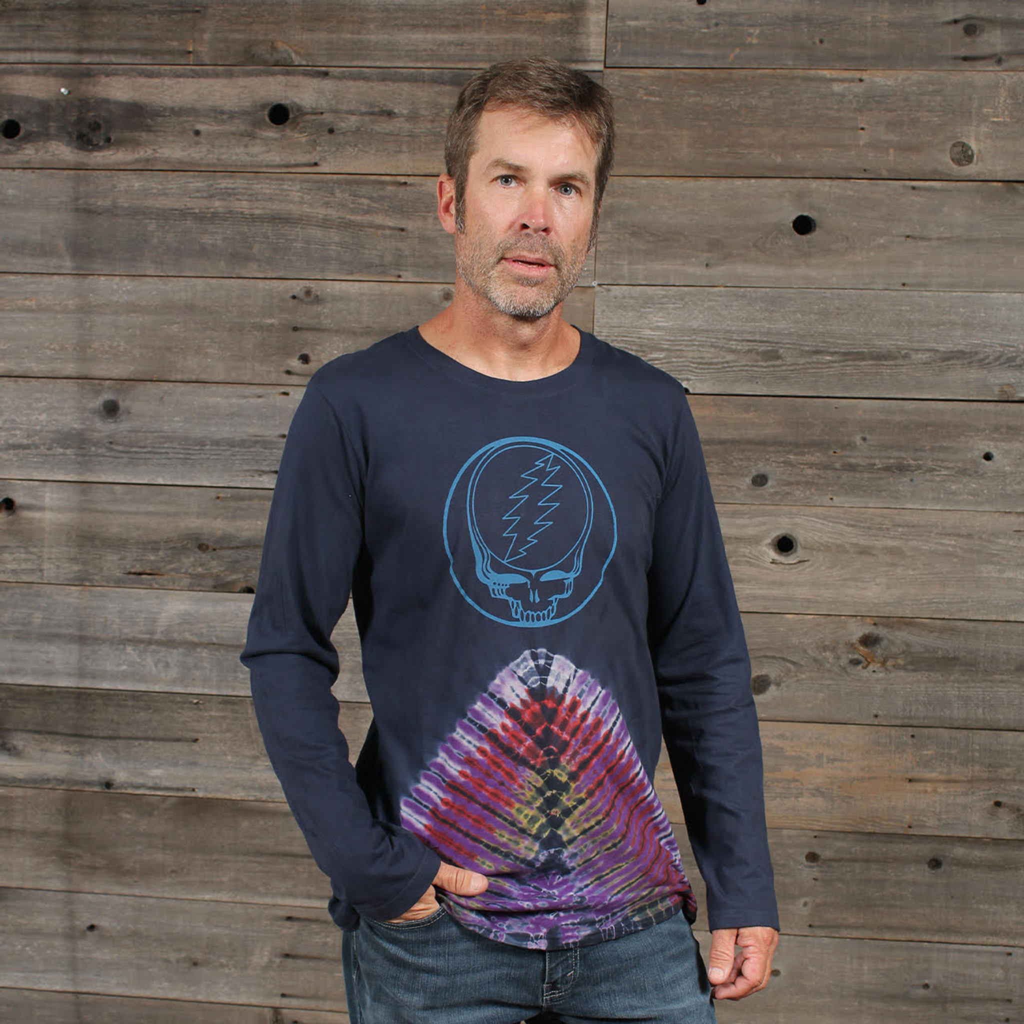 MICKY SHIRT Cotton Pyramid Tie Dye Long Sleeve T-Shirt W/ SYF Print