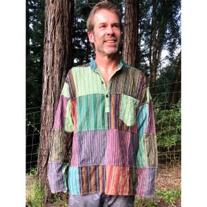 ARJUN SHIRT Cotton Patchwork Stonewash Men's Long Sleeve Shirt