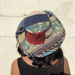 Upcycled  Uni Sex Hand Made  Hemp And Cotton Patchwork Hat With Finished Edge