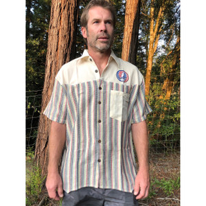 JACKIE SHIRT Cotton Striped Patchwork Short Sleeve Button Up Shirt With SYF & Bolt Detail