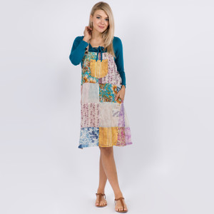 Patchwork Janet Dress Shown In Natural(White) Over Dye