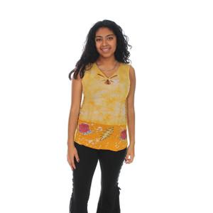 RYDER TOP Cotton Lycra Batik Razor Cut & Side Braid Grateful Dead Tank Top w/ Cinch Shoulder & Hand Painted Print