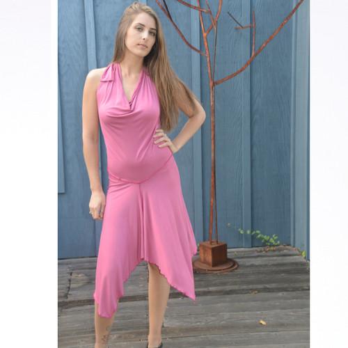 Rayon Spandex Angle Cut Short Halter Dress