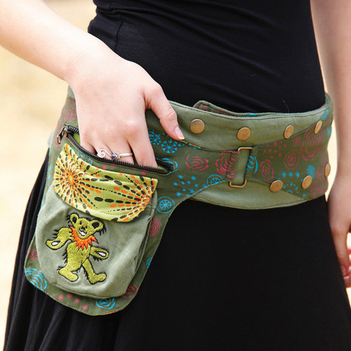 Cotton Snap Wrap Belt With Embroidered Iko Bear