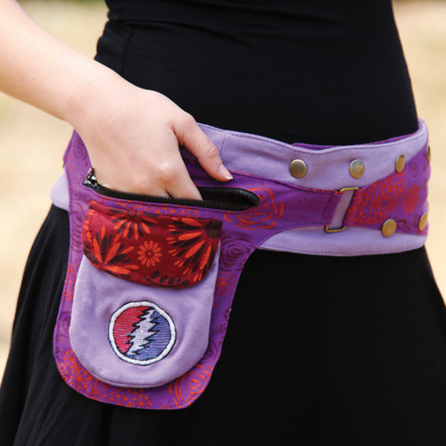 Cotton Snap Wrap Belt With Embroidered Bolt