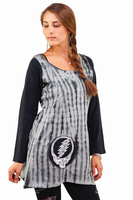 Cotton Tie Dye Mini Dress With Cut Out And Embroidered Steal Your Face