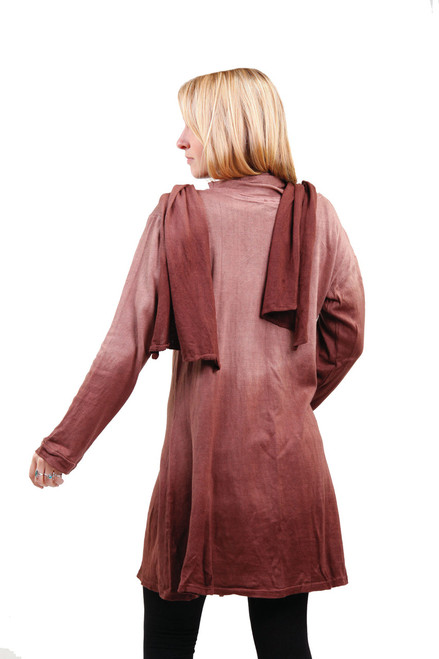 Thin Cotton Knit Cover Up With Attached Scarf