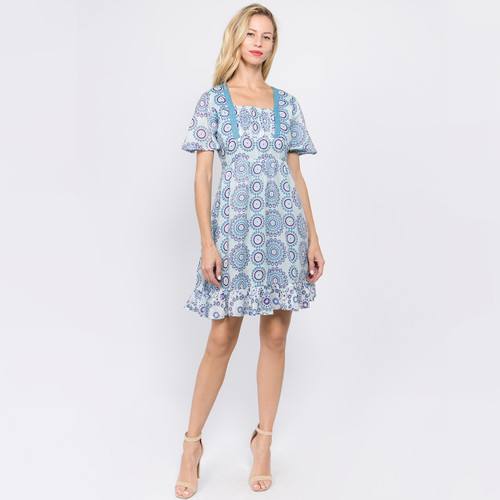 SPRING FLING DRESS Cotton Circle Flower Flowy Sleeve Ruffle Mini Dress With Lace Detail