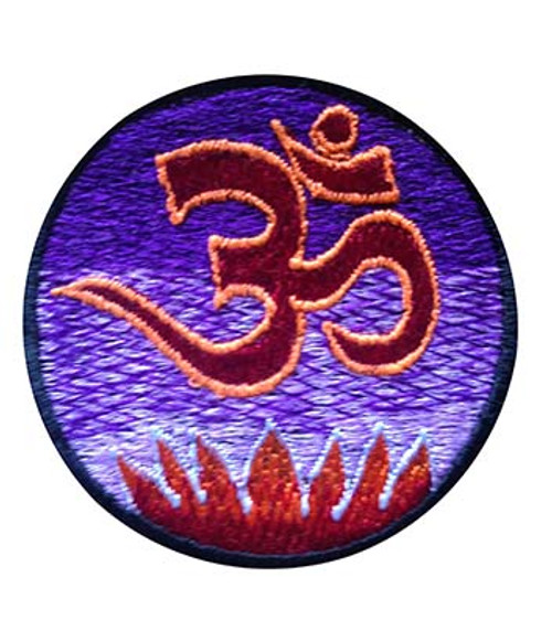 Small embroidered patch with ohm and lotus flower (3 inches)