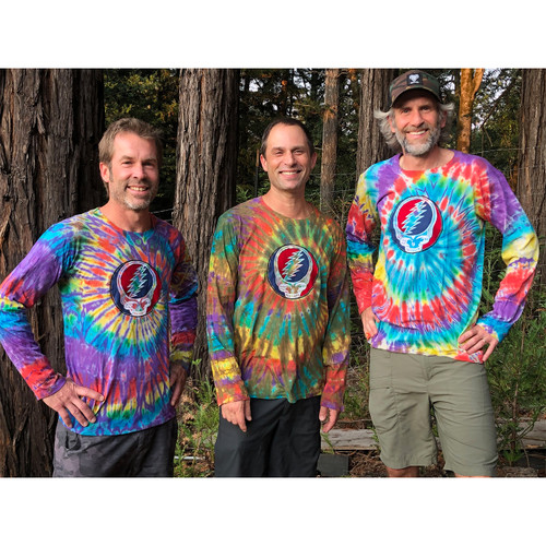 CANDY MAN Cotton Long Sleeve Tie Dyed Men's Grateful Dead T-shirt With Embroidery