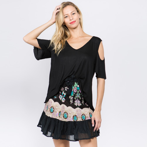Lily Midi Wrap Rufle Skirt With Printed Flowers