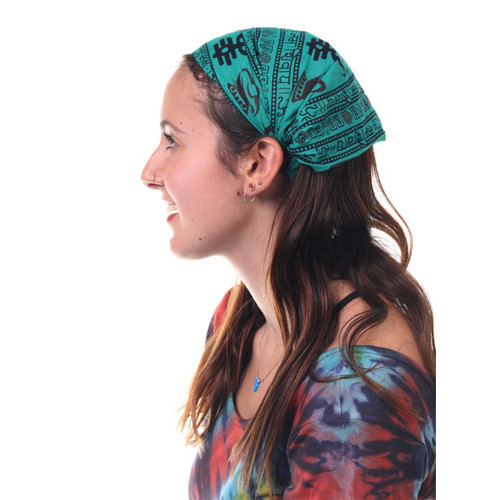 Cotton Headband With Tibetan Prayer Print