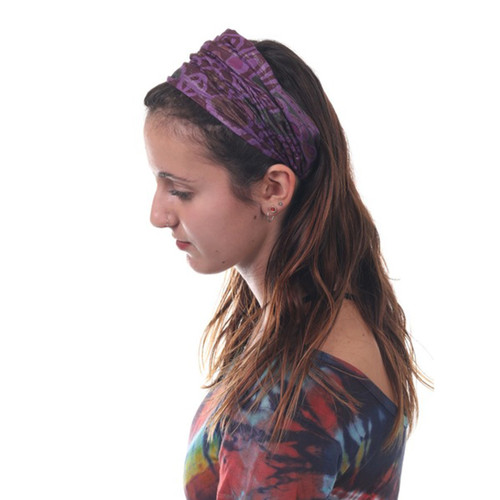 Cotton Hand Printed Headbands With Silver Lorax Thread